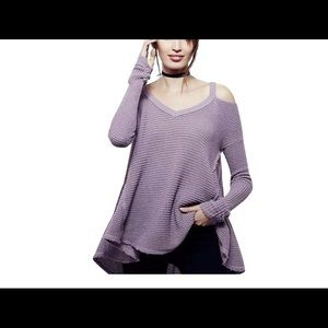 Moonshine Oversized Waffle Cold Shoulder Sweater!